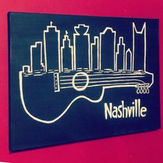 This white on black skyline celebrates Nashville and its rich musical influence. Fraternity Formal, Fraternity Coolers, Frat Coolers, Sorority And Fraternity, Sorority Paddles, Sorority Recruitment, Mini Canvas Art, Diy Canvas, Formal Cooler Ideas