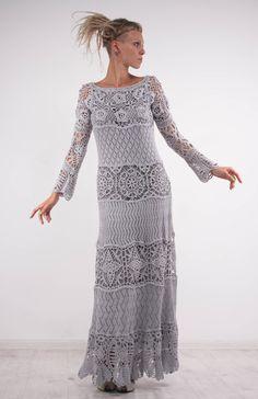 Crochet dress Crochet grey dress maxi long sleeves dress Crochet grey lacy dress…