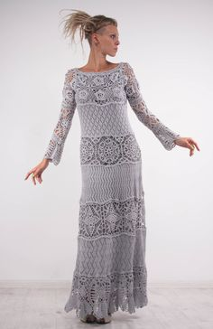 Crochet dress Crochet grey dress maxi long sleeves dress Crochet grey lacy dress…