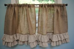 burlap curtains I want this ruffle on long ones and about 4 layers instead of 2