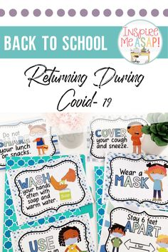 Returning to school this fall will not be the same. Teachers need resources to teach about new rules and expectations about how to stay safe- wearing masks, washing hands correctly, and how to social distance. This resource has everything you need- posters, a relevant social story, printables, interactive lessons- to effectively teach about new safety procedures and expectations when returning to school during the fall of 2020. Teachers love this resource because all the work is done for… I School, First Day Of School, Back To School, Return Back, Hand Washing Poster, Healthy Eating For Kids, Social Stories, Dental Health, Stay Safe