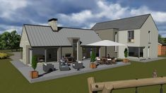 l shaped house plans, u shaped houses, house designs ireland, rendered houses Cottage Exterior, Modern Farmhouse Exterior, L Shaped House Plans, Split Level House Plans, House Designs Ireland, House Plans With Photos, Bungalow House Design, Bungalow Ideas, Layout