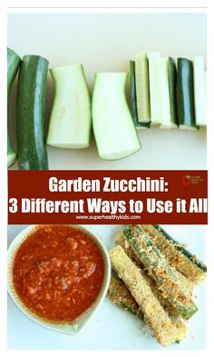 Garden Zucchini: 3 Different Ways to Use it All - These three ways to use your zucchini are the #1 ways kids enjoy zucchini! Believe us, we asked! http://www.superhealthykids.com/3-ways-to-use-your-garden-zucchini/