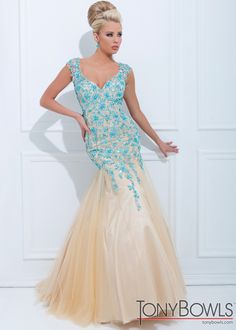 tony bowls gown nude and teal - Google Search