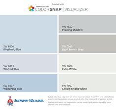 I found these colors with ColorSnap® Visualizer for iPhone by Sherwin-Williams: Rhythmic Blue (SW 6806), Wishful Blue (SW 6813), Wondrous Blue (SW 6807), Evening Shadow (SW 7662), Light French Gray (SW 0055), Extra White (SW 7006), Ceiling Bright White (SW 7007).