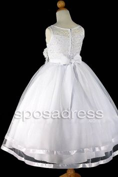 Lovely White Tulle Two Layered Sleeveless Embroidery Flower Decoration First Communion Dress - Sposadress.com
