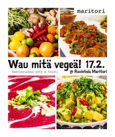Hohoi, taas tapahtuu Maritorilla! Juuren lounasravintoloiden keittiömestarit tehostivat tammikuun puolessa välissä osaamistaan kasvisruoka- ja kasvisproteiinikurssilla spesialistin johdolla ja NYT, hyvät asiakkaat on aika maistaa kurssin satoa. Wau mitä vegeä! -kasvisruokapäivä 17.2 tuo nautittavaksenne vegemakuja Maritorin tyyliin.  Maku. Alkuperä. Intohimo.