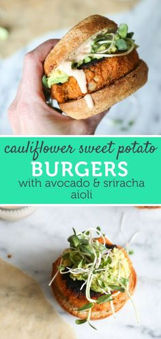 Cauliflower Sweet Potato Burgers with Avocado and Sriracha Aioli (Vegetarian Pal. - Cauliflower Sweet Potato Burgers with Avocado and Sriracha Aioli (Vegetarian Paleo) – Ideas For C - Clean Eating Vegetarian, Vegetarian Options, Vegetarian Sweet Potato Recipes, Healthy Eating, Simple Vegetarian Recipes, Vegetarian Italian, Eating Fast, Vegetarian Food, Healthy Options