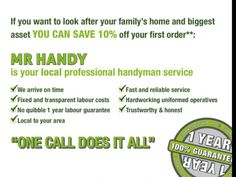 Mr Handy, Labour Cost, Look After Yourself, First Order, 1 Year, Home And Family