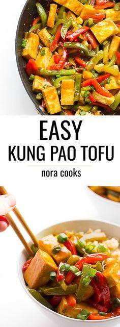 EASY Kung Pao Tofu- 30 minute meal, better than take-out! #vegan #glutenfree #tofu