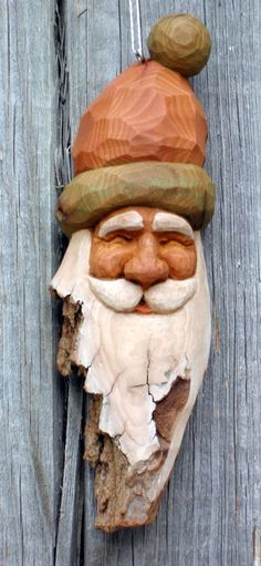 Six inch Santa ornament out of cottonwood bark. (SOLD)
