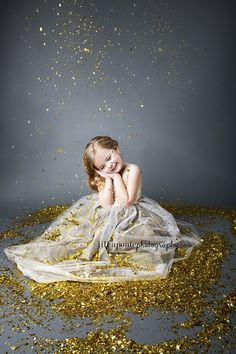 Children Photography Glitter Gray Child Gold