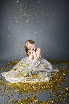 Children Photography Glitter Gray Child Gold