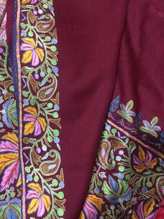 Kashmiri shawl with embroidery Kashmiri Suits, Kashmiri Shawls, Textile Patterns, Textiles, Pashmina Shawl, Fabric Painting, Vera Bradley Backpack, Hand Weaving, Stitching