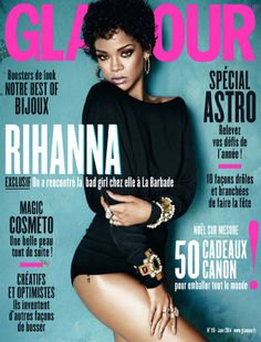 Rihanna en couverture du magazine Glamour n°118 (janvier 2014)