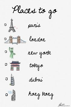 places to go - I may have to add a couple places. sydney. rome. fiji. vienna. rio de janiero.