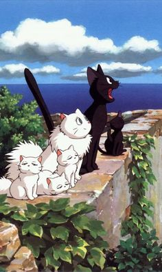 Studio ghibli,kiki's delivery service,hayao miyazaki Studio Ghibli Art, Studio Ghibli Movies, Animes Wallpapers, Cute Wallpapers, Anime Kunst, Anime Art, Kiki Delivery, Kiki's Delivery Service Cat, Photo Chat