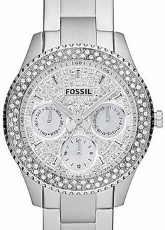 NWT Women's Fossil Watch ES3143 Silver BLING Encrusted Face and BLING Bezel #Fossil