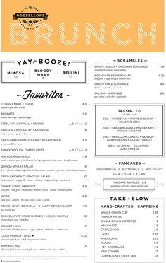Oddfellows - Oak Cliff, Texas - Food for All Menu Restaurant, Restaurant Identity, Restaurant Design, Breakfast Menu, Brunch Menu, Dinner Menu, Texas Menu, Lunch Cafe, Menu Layout