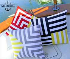 Sewing Cushions These nautical inspired striped pillows look amazing. Sew 4 Home shares a detailed pillow tutorial on how to make this gorgeous trio. Sewing Pillows, Diy Pillows, Decorative Throw Pillows, Patchwork Cushion, Quilted Pillow, Cushion Cover Designs, Cushion Covers, Quilt Patterns, Sewing Patterns