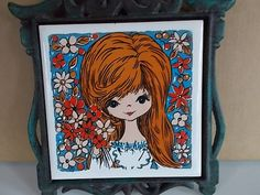 Vintage Mod Girl Ceramic Tile Metal Trivet by ladygirlsboutique, $12.00