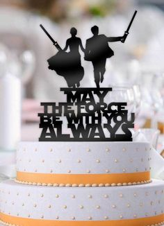 Star Wars Couple May The Force Be With You Always Cake Topper - Hochzeit ♡ - Happy Wedding Star Wars Wedding Cake, Geek Wedding, Wedding Topper, Wedding Day, Gamer Wedding Cake, Custom Wedding Cake Toppers, Custom Cake, Wedding Black, Star Wedding