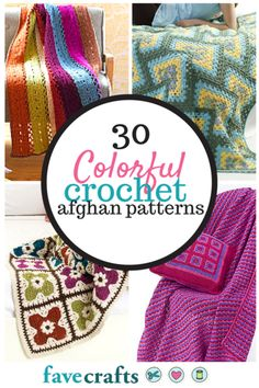 Using bright colors in free afghan patterns can really make crochet afghans stand out! I love the modern DIY home decor look they provide. So pretty!