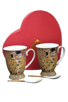 "Gustav Klimt Tee- Kaffeetassenset ""Der Kuss"" Beige, Porzellan"