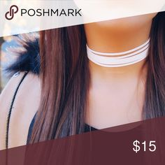 "6-Layer White Suede Choker  Handmade  12"" with extender that extends to 15""  Metal color can be customized, just leave a comment after you purchase if you have a preference of gold or silver. Otherwise, metal color will be chosen. ❌ No trades ❌ No offers on this particular item. Please bundle if you want a discount, check my closet discount for current bundle deals. Jewelry Necklaces"