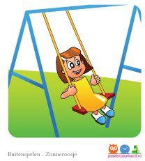 Buiten spelen  Onderdeel van de basisset Zonneroosje.  Peuterplanbord, specialist in planborden en pictogrammen voor kinderen