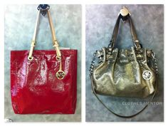 Michael Kors large red tote. Michael Kors gold purse with shoulder strap at Clothes Mentor.