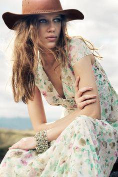 Bohemia. boho hat. flowers maxi dress. summer