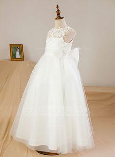 Ball Gown Ankle-length Flower Girl Dress - Satin/Tulle Sleeveless Scoop Neck With Appliques/Flower(s) (010094112) - JJsHouse