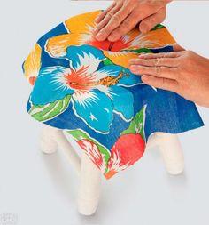 Passo a passo: customize um banquinho com tecido e tinta | CASA.COM.BR