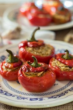 Peppers stuffed with lupins and focaccia