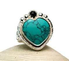 Natural Turquoise Heart Ring, Sterling Silver, Faceted Black Spinel, Power Statement Jewelry, made to order on Etsy, $168.00
