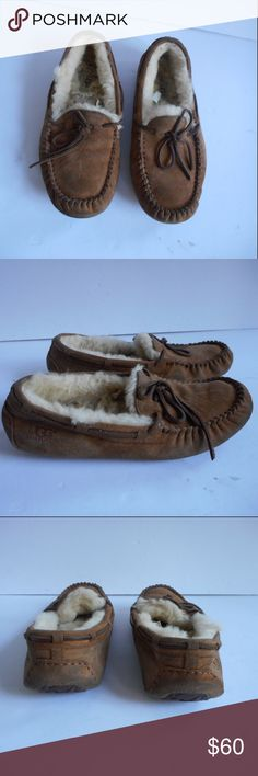 Ugg Dakota Ansley Chestnut size 8 CHE GUC UGG AUSTRALIA WOMENS INDOOR OUTDOOR SLIPPERS SHOES MOCCASSINS CHESTNUT SUEDE SHEEPSKIN BOOTS WINTER SHOES WATER RESISTANT GOOD PREOWNED CONDITION SOME SMALL STAINS LOTS OF LIFE LEFT UGG Shoes Moccasins