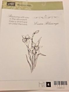 Stampin Up Abundant Hope 4 Rubber Clearmount Stamp. Abundant Hope, Daffodils, Blessings, Stampin Up, Blessed, Easter, Easter Activities, Stamping Up