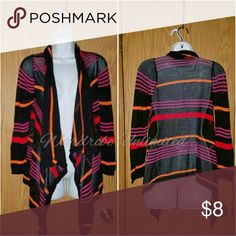Black striped draped cardigan Long sleeves Black w/ Orange and Red stripes Say What? Sweaters Cardigans