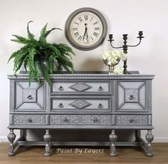 Gorgeous buffet layered with grays and silver paints and waxes. Available in my Etsy Shop Entryway Furniture, Recycled Furniture, Paint Furniture, Furniture Making, Ohio, West Jefferson, Vintage Buffet, Dining Room Storage, Painted Buffet