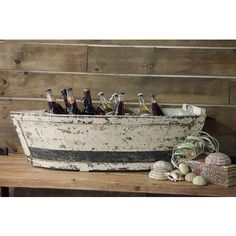 Wooden Boat Ice Beverage Cooler | Lakehouse Lifestyle