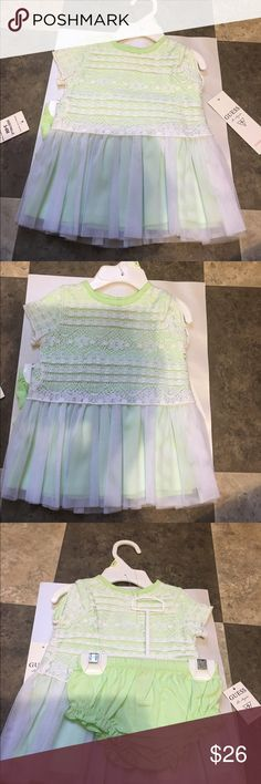 Guess White/light green Dress✨ Brand new super cute two piece dress from guess. Comes with undies. Guess Dresses