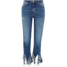 River Island Mid blue fringed hem cropped flare jeans ($90) ❤ liked on Polyvore featuring jeans, bottoms, blue, bootcut & flared jeans, women, flare leg jeans, blue denim jeans, flare jeans, ripped jeans and distressed denim jeans
