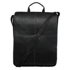 @Overstock - Top handles and an adjustable shoulder strap make it easy to carry this well-designed laptop messenger bag. You can secure a laptop up to a size of 17 inches with the Velcro closure inside the main padded compartment.http://www.overstock.com/Luggage-Bags/Royce-Leather-17-inch-Vertical-Laptop-Messenger-Bag/5098828/product.html?CID=214117 $139.99