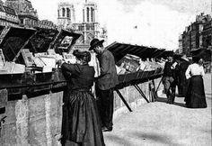 Les Bouquinistes à Paris le long de la Seine quai des Grands Augustins 1900