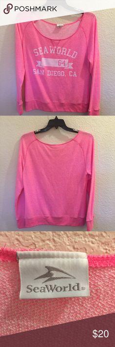 NWOT- XL Off the shoulder sweat shirt- Pretty Pink NWOT - soft and pretty Seaworld Tops Sweatshirts & Hoodies