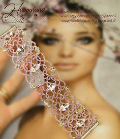 Melisandre, needle tatted bracelet tutorial step by step - Tatting Ideen 2019 Bracelet Tatting, Tatting Jewelry, Tatting Lace, Shuttle Tatting Patterns, Needle Tatting Patterns, Tatting Tutorial, Bracelet Tutorial, Needle Lace, Bobbin Lace