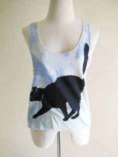 Black Cat Cute Animal Style Tank Top
