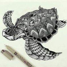 This might work for my cover-up 🐉🐢 Turtle zentangle pattern :D Zentangle Drawings, Zentangle Patterns, Zentangles, Zentangle Animal, Tier Doodles, Turtle Tattoo Designs, Muster Tattoos, Animal Doodles, Detailed Drawings