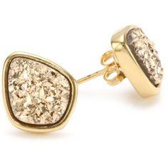 Marcia Moran Gold Druzy Organic Drop Stud Earrings